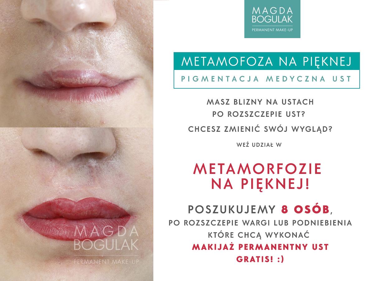Makijaż permanentny metamorfoza ust po rozszczepie